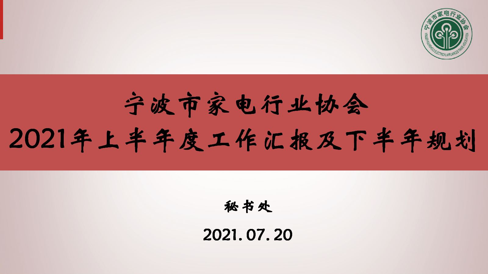 宁波市家电行业协会2021年上半年度工作汇报及下半年规划